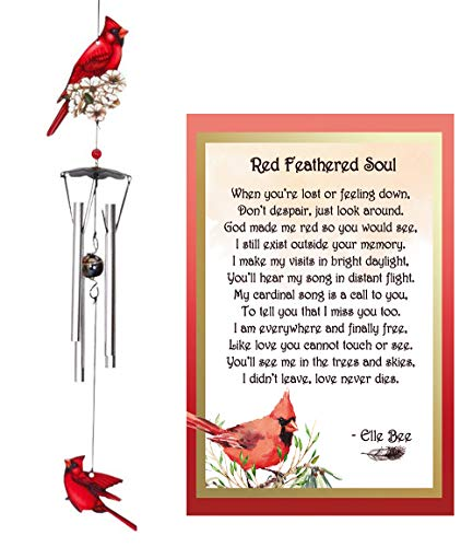 Lola Bella Gifts and Spoontiques Cardinal Wind Chime and Red Feathered Soul Poem Card Red Box Sympathy Grief Memorial Gift