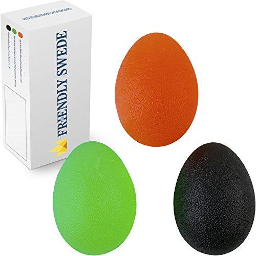 The Friendly Swede 3 Stück Eiförmige Griffbälle - Antistressball, Handtrainer und Fingertrainer mit unterschiedlichen Härtegrade (Groß)