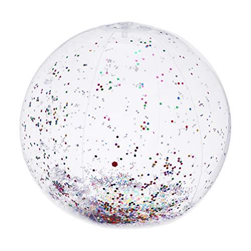 LIOOBO Transparente Pailletten Aufblasbare Ball Sommer Wasser Pool Spielen Wasserball Strand Party Favor 16 Zoll