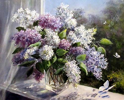 none_branded digitale olieverfschilderij om te knutselen, wilde bloemen op de vensterbank, wanddecoratie, cadeau, decoratie, hobby, handbeschilderd, modern, 40 x 50 cm