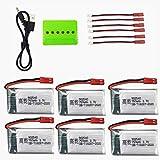 ZYGY 6PCS 3,7V 750mAh Lipo Batterie + Caricatore 6in1 per Rc Droni Quadricotteri MJX X400 X800 X300C X500 Drone Batteria