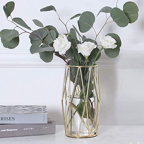 Hey_you Geometrische Glasblumenvase Metallhalter, Kristallklare Transparente Pflanzer Blumenvase, Handgefertigte Beschichtung Metallvase, Klare Vase Dekorativ für Home Office Hochzeitsfeiertag Feiern