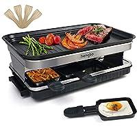raclette con piastra antiaderente rivestito termicamente isolato 8 padelline per 8 persone 1500w, nero