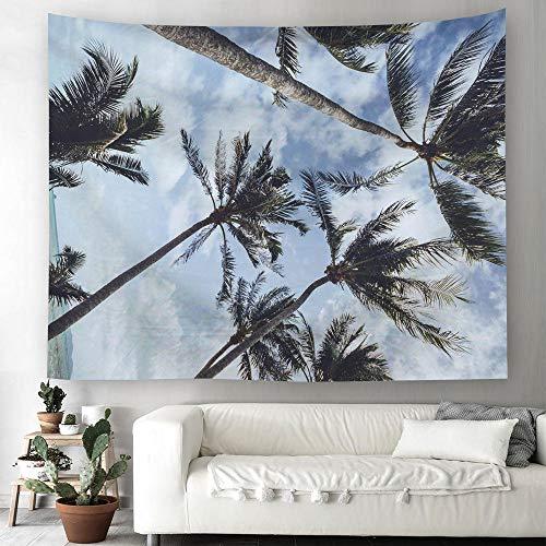 AdoDecor Tapiz de Playa de Verano para Colgar en la Pared, Tapiz con Vistas Naturales, Tapiz con Estampado de Puesta de Sol en el mar, decoración del hogar de Hoja de Palma, 150x110cm