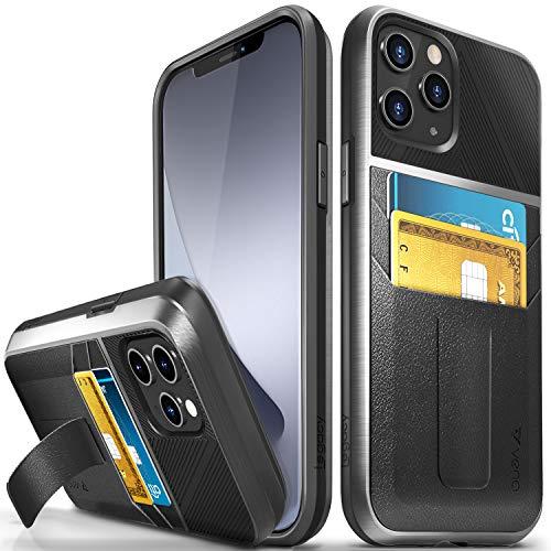Vena Legacy Funda Cartera Compatible con Apple iPhone 12 Pro MAX (6.7'-Inch), (CornerGuard Protection, 2 Ranuras para Tarjetas) Carcasa de Cuero Case con Función de Soporte - Negro