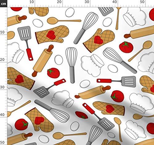 Backen, Bäcker, Koch, Kochen, Liebe, Essen Stoffe - Individuell Bedruckt von Spoonflower - Design von Jannasalak Gedruckt auf Leinen Baumwoll Canvas