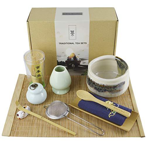 Matcha Tea Set Matcha Bowl Matcha Whisk Traditional Scoop Ceramic Whisk Holder Matcha Caddy Bamboo tea mat Handmade Matcha Ceremony Kit 11 Pcs