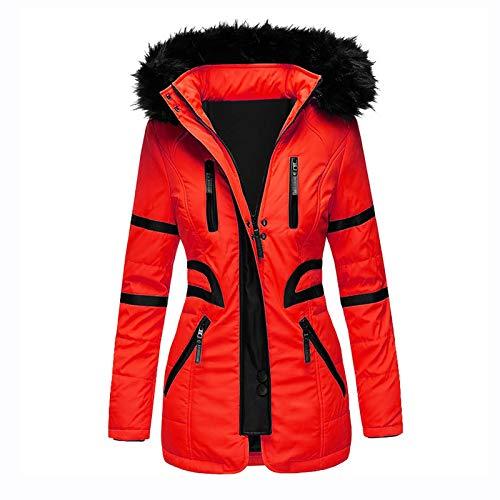 clacce Damen Jacke Winter warme Designer Winterjacke Outwear Pelz gefüttert Trench...