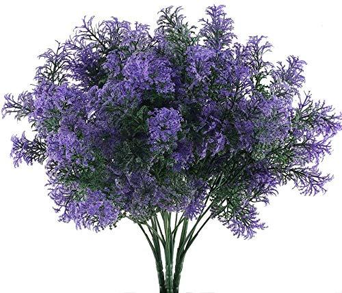 NAHUAA 4 Pcs Künstliche Pflanzen Lila Kunstpflanzen Balkon Kunstblumen Plastikpflanzen Künstliche Blumen Unechte Pflanzen für Frühling Drinnen Draußen Garten Topf Vase Fensterbank Dekoration