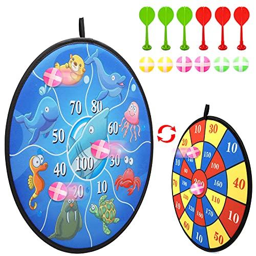 Kinder Klett Dartscheibe Set, Doppelseitiges Sport Spielzeug Dartscheibe mit Ozean Tier Motiven und Zahlen inkl. 6 Bälle mit 6 Sticky Darts, Dart Wurf Spiel Scheibe für Groß und Klein (14,5 Zoll)