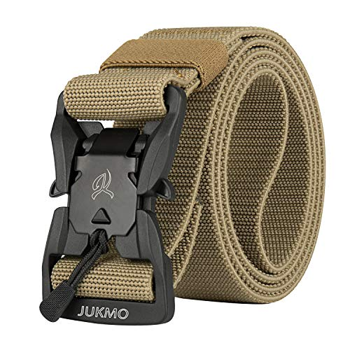 JUKMO Tactical Belt, Military Rigger 1.5'' Nylon Web Duty Work Belt with Magnetic Quick Release Buckle (Coyote, Medium)
