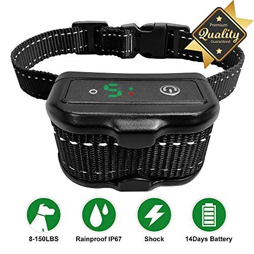 Bark Collar Newest Upgrade Version No Bark Collar Rechargeable Anti bark Collar Waterproof beeping/Vibration/Non-Impact Shock Rechargeable Small Medium Large Dogs of All Breeds (Black)