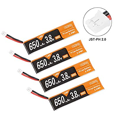 Crazepony 4pcs 650mAh 1S Battery 4.35V HV LiPo Battery JST-PH 2.0 PowerWhoop mCPX Connector for Inductrix FPV Plus 75mm Frame Kit Micro FPV Drone