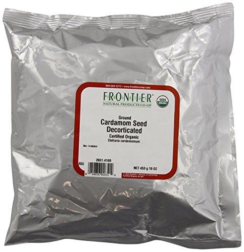 Frontiera di semi di cardamomo, sgusciati (senza baccello), polvere biologica certificata, 16 oncia borsa