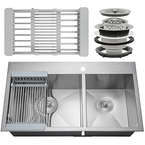 Firebird Drop-In Topmount Double Basin Handmade 18 Gauge Stainless Steel Kitchen Sink Faucet Hole w/Drain & Adjustable Dish Tray (33 Inch 60/40)