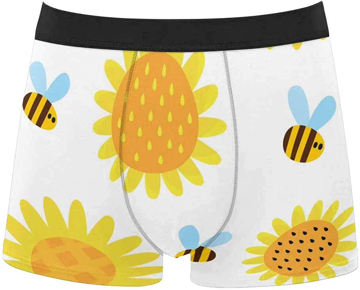 InterestPrint All Over Print Boxer Stretch Underwear for Mens Juniors Boys Flower Print in Bright Colors