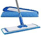 18' Professional Microfiber Mop | Stainless Steel Handle | 3 Premium Mop Pads +...