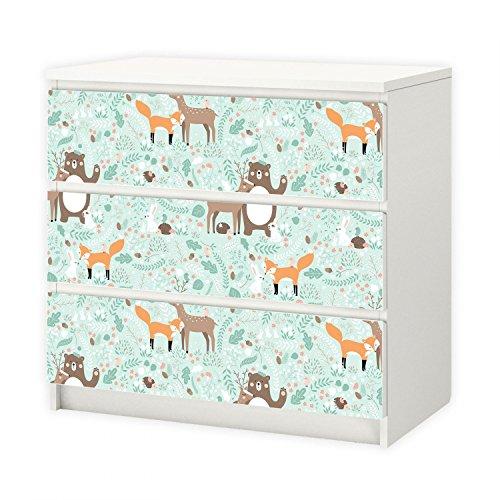 nikima - 011 Möbelfolie für IKEA MALM - Waldtiere - 3 Schubladen Aufkleber Sticker Klebefolie (Möbel nicht inklusive)