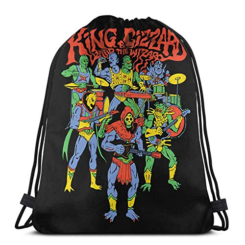 XCNGG King Gizzard and Lizard Wizard Mochila con cordón/Bolsa de cosméticos/Monedero/Pulsera/Collar/Diadema/Llavero/Nota Adhesiva