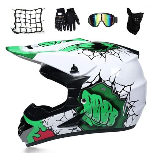 NNYY Auriculares MTB Integral Blanca Y Verde Motocross Infantil (5 Habitaciones/Gafas/Guantes De Motocicleta/Filete Elástico), Casco Cruzado De Motocicletas Casco,XL