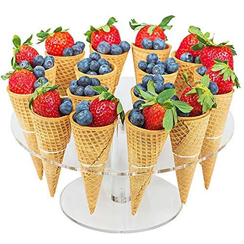 Support Pour Cornet Glace,Mini Support de Support de Cône en Acrylique ICE-Cream Rond Transparent 16 Trous, Matériaux Non Toxiques, Pour Les Cornets de Crème Glacée,le Cône de Pop-Corn,etc
