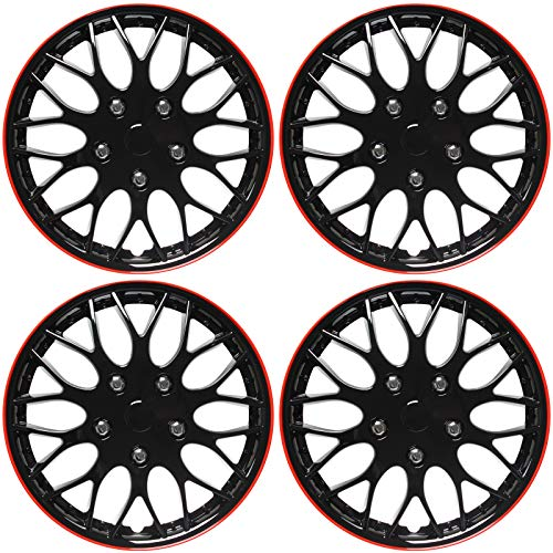 15 inch hubcaps black and red - 8