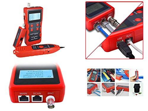 Kalea Informatique–Medidor profesional para red RJ45RJ11USB BNC: Teste la longitud, cartografía y polaridad los Cordons RJ45RJ11BNC USB–protección anti Interférences