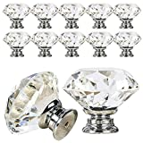 VIPMOON Crystal Cabinet Knobs,12pcs 30mm Clear Glass Drawer Knobs Crystal Cut Door Handles Diamond Pulls Knobs with Screws for Home Kitchen Office Chest Cabinet Drawer Decorating