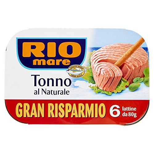 Rio Mare - Tonno al Naturale Qualità Pinne Gialle, 1% di Grassi, 6 Lattine da 80 g
