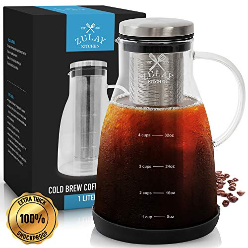 Image of Airtight Cold Brew Coffee Maker with EXTRA-THICK Glass Carafe, Stainless Steel Mesh Filter and Non-Slip Silicone Base - Premium Iced Coffee Maker, Cold Brew Pitcher & Tea Infuser - by Zulay: Bestviewsreviews