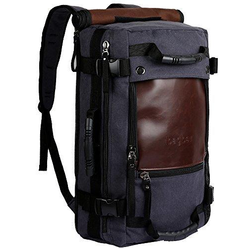 ibagbar Canvas Backpack Travel Bag Hiking Bag Camping Bag Rucksack Dark Gray Large
