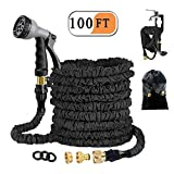 Avyvi 100ft Extendable Garden Hose, 30M Retractable Hose 3/4 'and 1/2' Solid Brass Fittings Flexible 8 Function Water Hose Flexible for Garden Irrigation and Cleaning