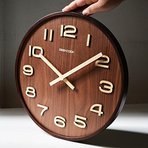 MEILING 14 pouces chinois simple moderne en bois grande pendaison horloge salon décoration de mode muet horloge quartz horloge (Couleur : Noyer Couleur)