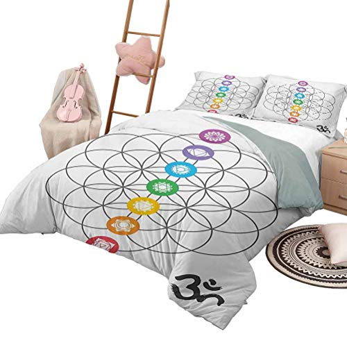 DayDayFun Quilt Set for Kids Sacred Geometry Printed Quilt Cover Chakra Points in Vintage Concentric Rings of Partial Circle Zen Theme Image Queen Size Multicolor