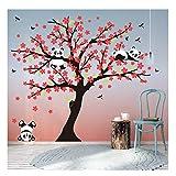 BDECOLL Panda-Baum-Sakura-Wandtattoo Aufkleber für Wohnzimmer Wanddekoration Entfernbare Vinyl Abziehbild Kunst Zuhause Dekorieren (red)