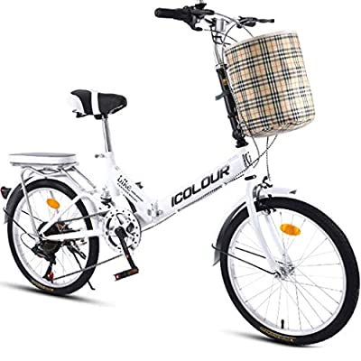 Zytyeu Folding Bicycle Variable Speed Male Female Adult Student Outdoor Sport Bike with Basket Small Portable Bicycle for Adult Student Teens Foldable Bicycle, City Light Commuter Bike Country Road Cy