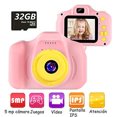 Cámara Digital para Niños Juguetes de Niña Regalos para Niños Pantalla HD de 2 Pulgadas 1080P Tarjeta de 32GB TF Regalos de Juguete para Niños de 3 a 12 años de Niños y Niñas Cumpleaños … (rosa)