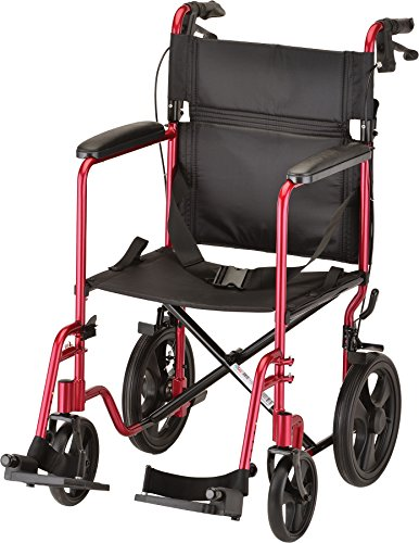 NOVA Medical Products Lightweight Transport Chair with Locking Hand Brakes, Red