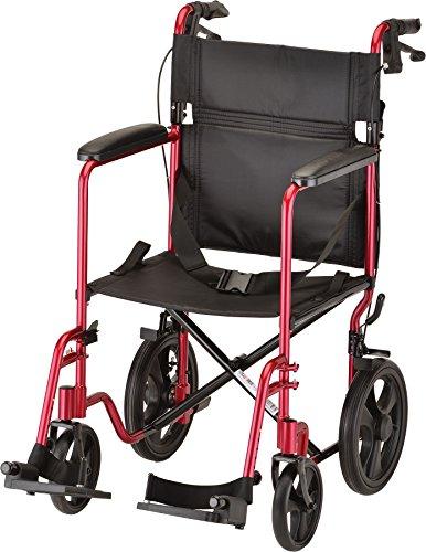 Nova Medical Products轻量级运输椅采用锁定手刹车,12个后轮,全长填充扶手,红色