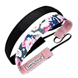 Sweaty Bands Womens Girls Headband - Non-Slip Velvet-Lined Fitness Hairband - 2-Pack Becca and Rock Solid Black 7/8-Inch