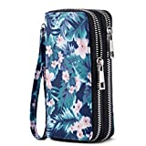 HAWEE Cellphone Wallet Dual Zipper Wristlet Purse with Credit Card Case/Coin Pouch/Smart Phone Pocket Soft Leather for Women or Lady, Green Leaf Pink Flower