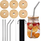 6 Sets Jar Lids with Straw Hole, Regular Mouth Bamboo Jar Lids Compatible with Mason Jar and 4 pieces Reusable Stainless Steel Straw, Cleaning Brush and Bag for Drinking