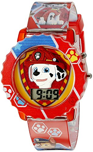 Paw Patrol Kids' Digital Watch with Red Case, Comfortable Red Strap, Easy to Buckle - Official 3D Paw Patrol Character on the Dial, Safe for Children - Model: PAW4016