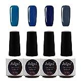 Joligel Kit 4x Esmaltes Semipermanentes Shellac para Uñas de Gel Set Pintauñas Permanentes Manicura Pedicura UV LED Nail Art Multicolor (7,3ml), Serie Azul Elegante