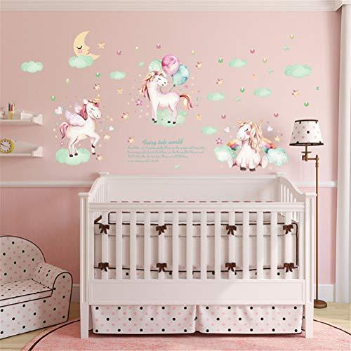 Unicorn Balloon muursticker kunst cartoon horse Kids Wall Decals Waterproof zelfklevende wandafbeeldingen Home Decor