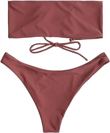 65678ae911 ZAFUL Women's Bathing Suit Adjustable Back Lace-up Bandeau Bikini Set
