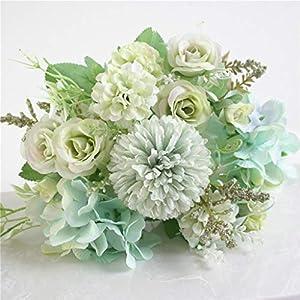 Artificial Flowers, Fake Peony Silk Hydrangea Bouquet Decor Plastic Carnations Realistic Flower, Beautiful Artificial Silk Fake Flowers Wedding Valentines Bouquet Bridal Decor (B, Green)