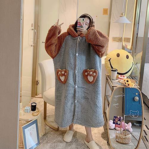 Bonita bata kimono de franela, de dibujos animados, para mujer, ropa de dormir casual, ropa de dormir de forro polar coral, lencería íntima (color: gris, talla: L)