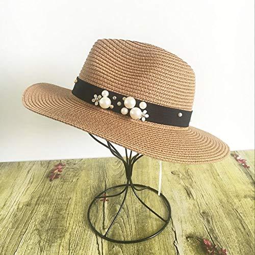 TJLSS Earl estereoscópica Perla del Sombre Color de Costura Beach Holiday Sun de la Paja Sombreros de Estilo de Las Mujeres del Verano del Sombrero (Color : D)