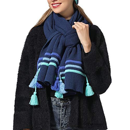 WKF Scarfs For Women Blue Knit Wool Scarf Merino Wool Shawl Warm Cozy Scarves